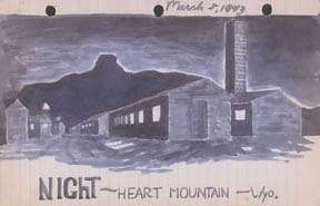 Drawing from high school student Stanley Hayami's diary, Heart Mountain.